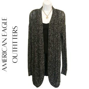 AMERICAN EAGLE OUTFITTERS Black & White Marled Knit Cardigan, L